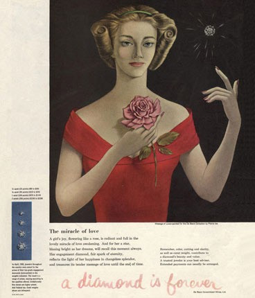 1948: De Beers 'A diamond is forever' campaign. Marketing, Marketing agency, USP