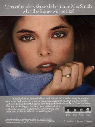 1982 De Beers Diamond Rings-Engagement, Wedding Mrs Smith Original Magazine Ad. Marketing, Consumer psychology , Advertising