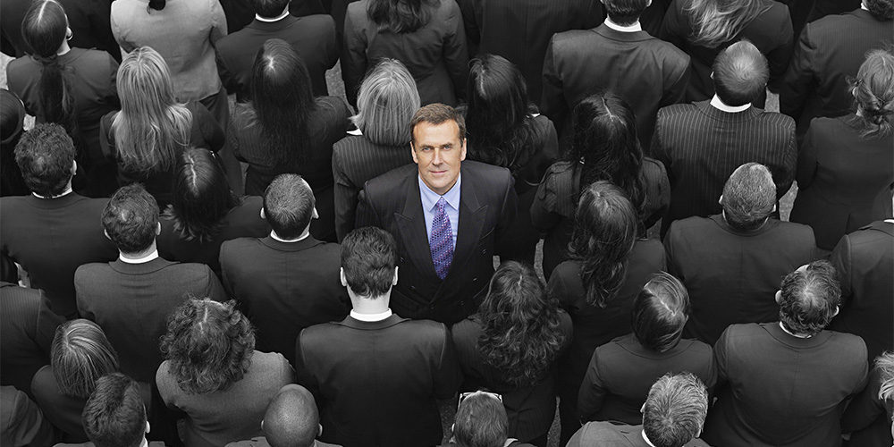 Man standing out from the crowd. USP, Unique selling point, Business strategy, Marketing strategy, Digital marketing